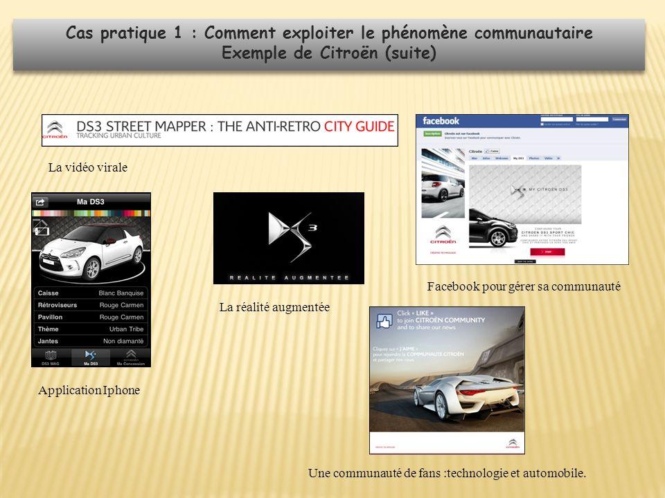 La vidéo virale Facebook pour gérer sa communauté Application Iphone La réalité augmentée Une communauté de fans :technologie et automobile. Cas prati