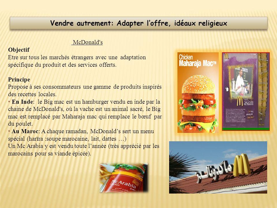 McDonald's Objectif Etre sur tous les marchés étrangers avec une adaptation spécifique du produit et des services offerts. Principe Propose à ses cons