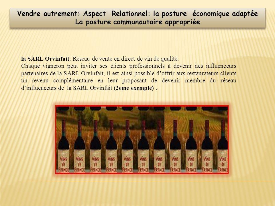 la SARL Orvinfait: Réseau de vente en direct de vin de qualité. Chaque vigneron peut inviter ses clients professionnels à devenir des influenceurs par