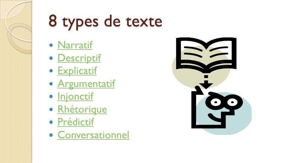 8 types de texte Narratif Descriptif Explicatif Argumentatif Injonctif Rhétorique Prédictif Conversationnel
