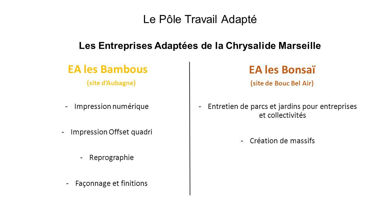 Le Pôle Travail Adapté Les Entreprises Adaptées de la Chrysalide Marseille EA les Bambous (site dAubagne) EA les Bonsaï (site de Bouc Bel Air) -Impres