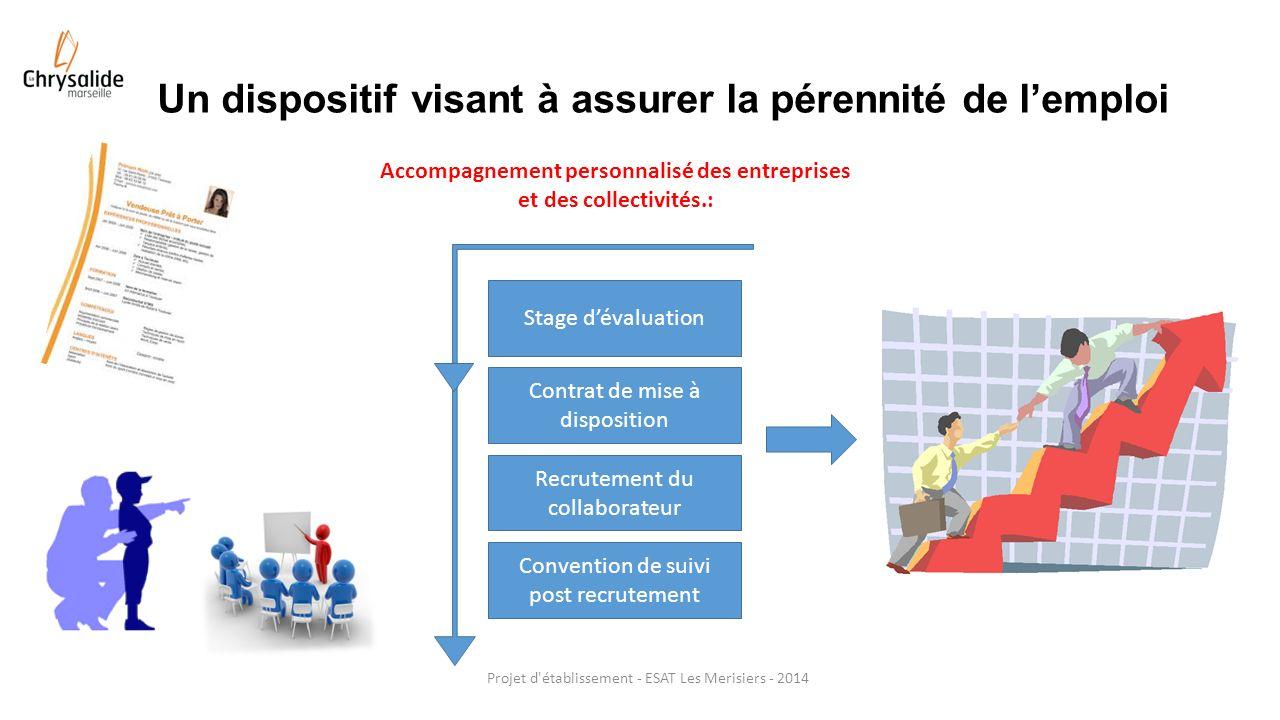 Un dispositif visant à assurer la pérennité de lemploi Projet d'établissement - ESAT Les Merisiers - 2014 Stage dévaluation Contrat de mise à disposit
