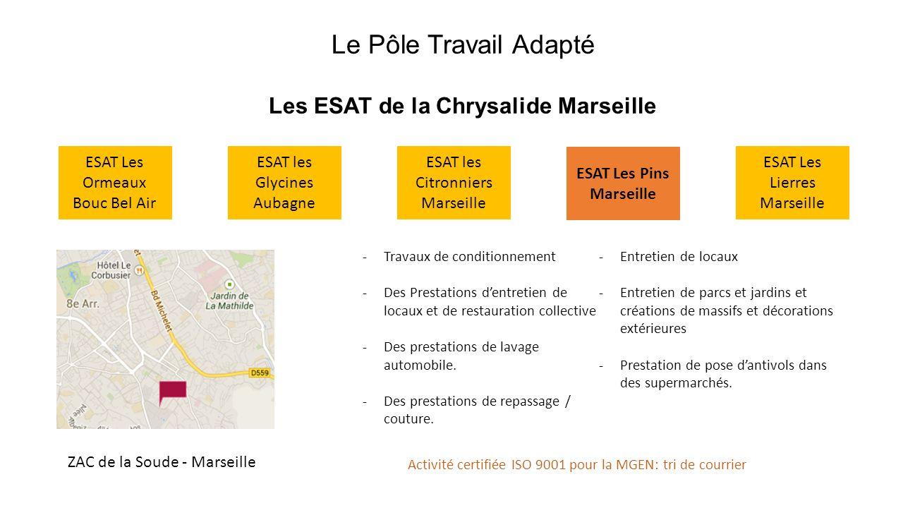 Le Pôle Travail Adapté Les ESAT de la Chrysalide Marseille ESAT les Glycines Aubagne ESAT Les Ormeaux Bouc Bel Air ESAT les Citronniers Marseille ESAT