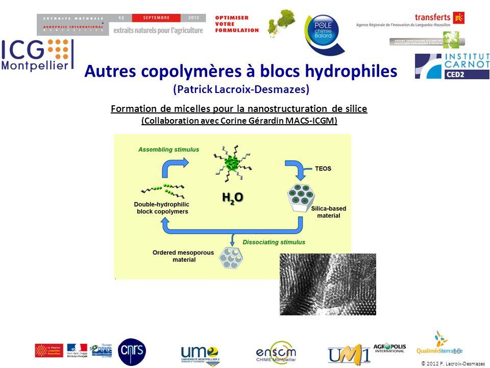 © 2012 P. Lacroix-Desmazes Autres copolymères à blocs hydrophiles (Patrick Lacroix-Desmazes) 10 Formation de micelles pour la nanostructuration de sil