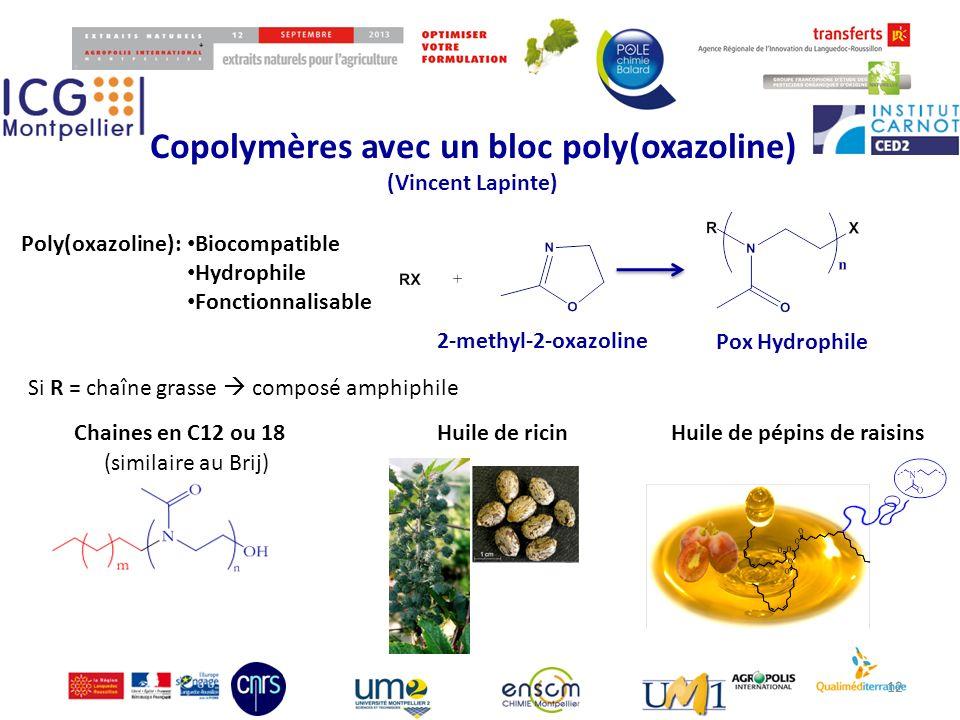 Copolymères avec un bloc poly(oxazoline) (Vincent Lapinte) 12 2-methyl-2-oxazoline Pox Hydrophile Poly(oxazoline): Biocompatible Hydrophile Fonctionna