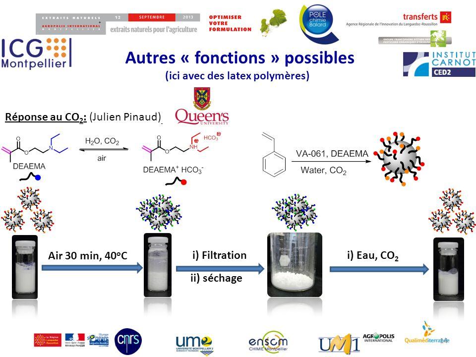 Autres « fonctions » possibles (ici avec des latex polymères) 14 Air 30 min, 40 o C i) Filtration ii) séchage i) Eau, CO 2 Réponse au CO 2 : (Julien P