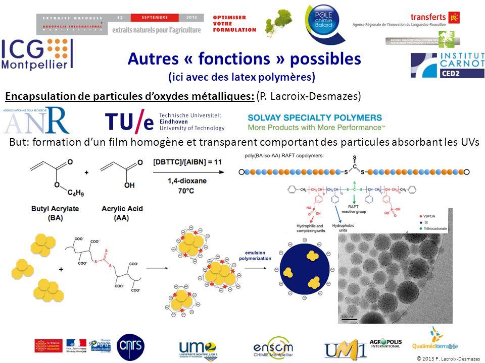 © 2013 P. Lacroix-Desmazes Autres « fonctions » possibles (ici avec des latex polymères) 15 Encapsulation de particules doxydes métalliques: (P. Lacro