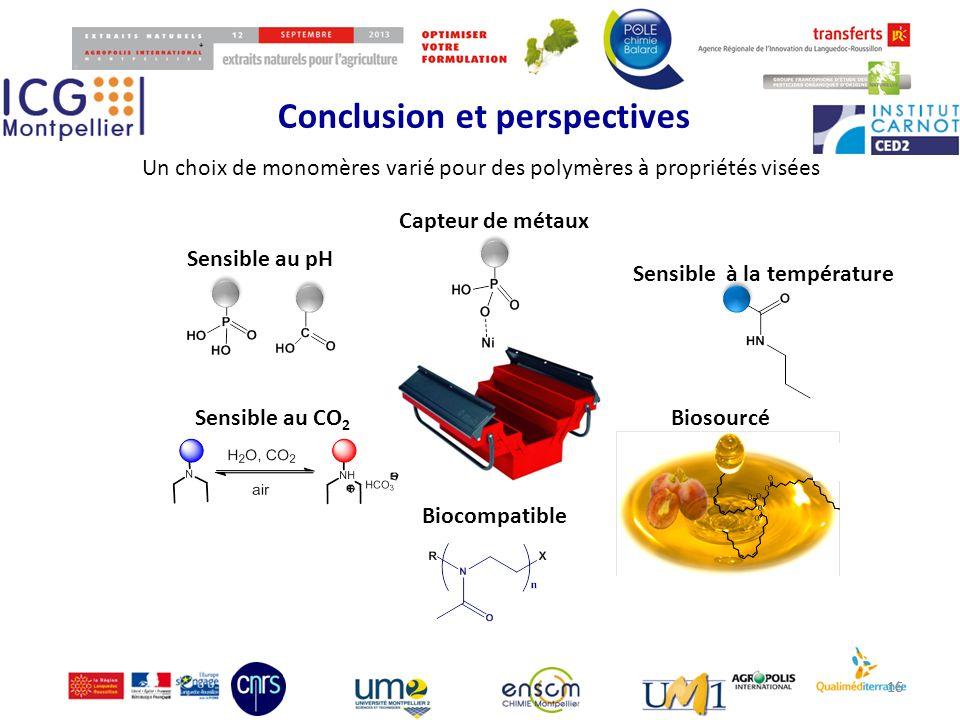 Conclusion et perspectives 16 Un choix de monomères varié pour des polymères à propriétés visées Sensible au pH Sensible au CO 2 Sensible à la tempéra