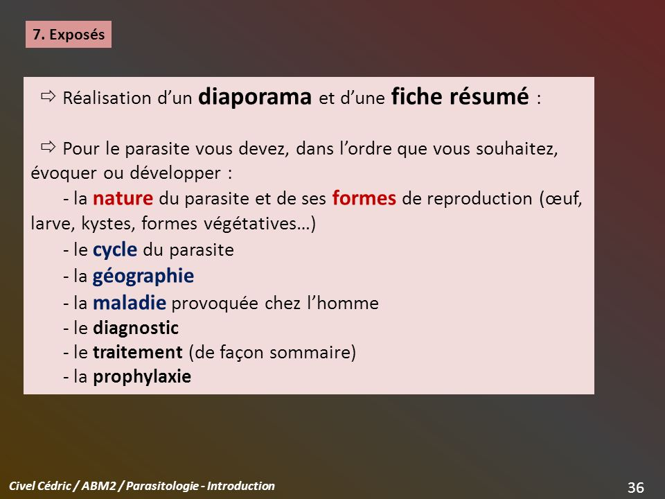 Civel Cédric / ABM2 / Parasitologie - Introduction 36 7.