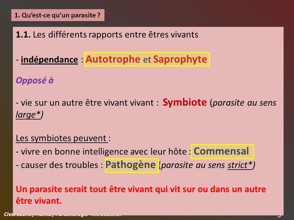 Civel Cédric / ABM2 / Parasitologie - Introduction 6 1.