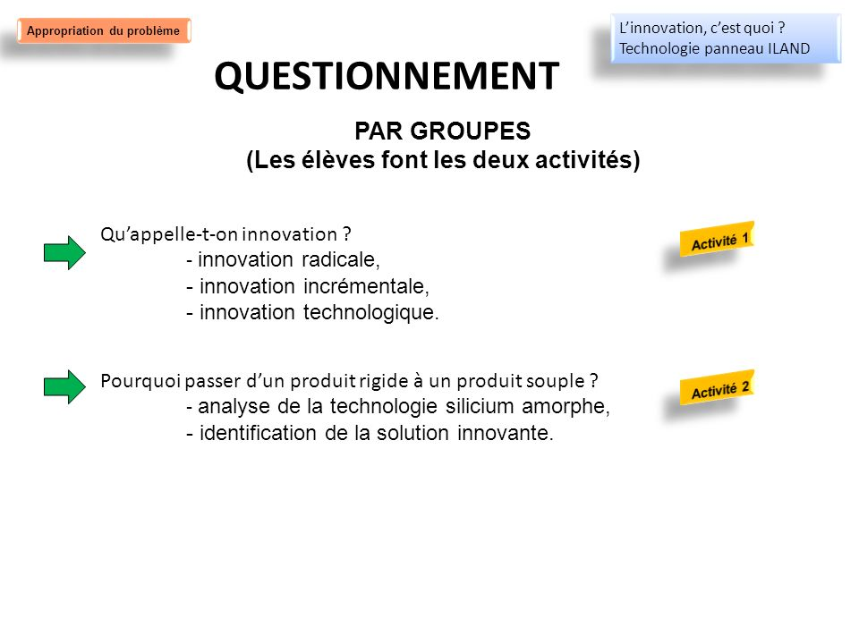 QUESTIONNEMENT Quappelle-t-on innovation ? - innovation radicale, - innovation incrémentale, - innovation technologique. Pourquoi passer dun produit r
