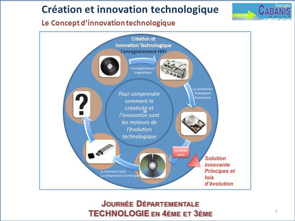 2 J OURNÉE D ÉPARTEMENTALE TECHNOLOGIE EN 4 ÈME ET 3 ÈME Création et innovation technologique Le Concept dinnovation technologique