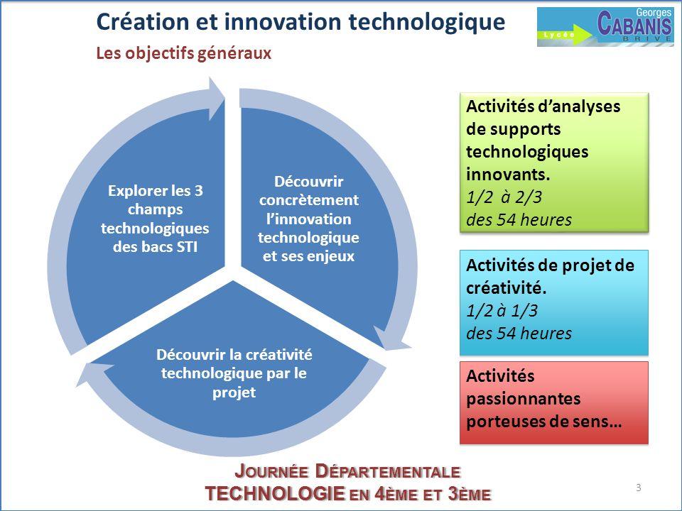 3 J OURNÉE D ÉPARTEMENTALE TECHNOLOGIE EN 4 ÈME ET 3 ÈME Création et innovation technologique Les objectifs généraux Découvrir concrètement linnovatio