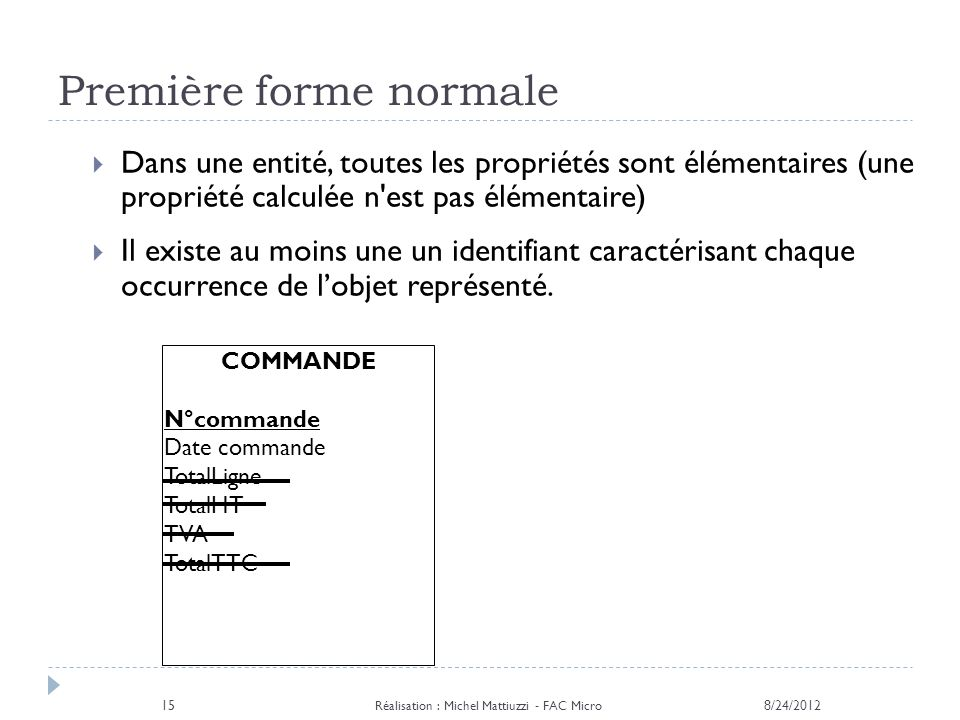 Première forme normale 8/24/2012 Réalisation : Michel Mattiuzzi - FAC Micro 15 Dans une entité, toutes les propriétés sont élémentaires (une propriété