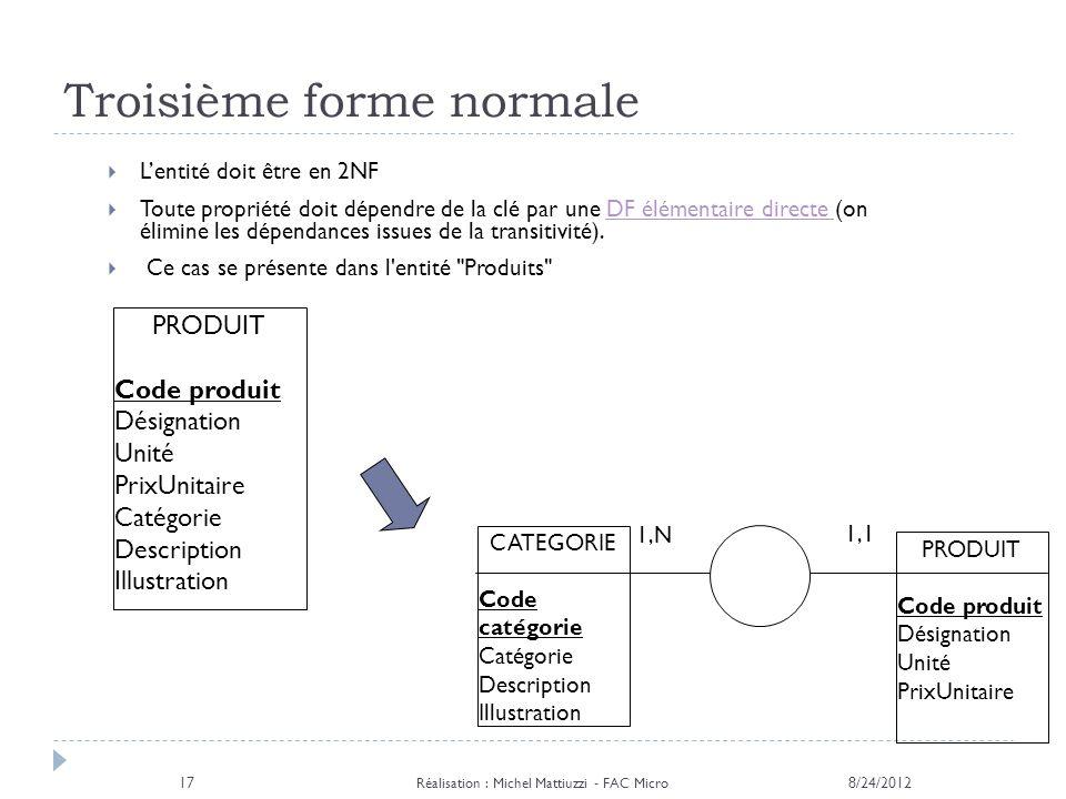 Troisième forme normale 8/24/2012 Réalisation : Michel Mattiuzzi - FAC Micro 17 Lentité doit être en 2NF Toute propriété doit dépendre de la clé par u