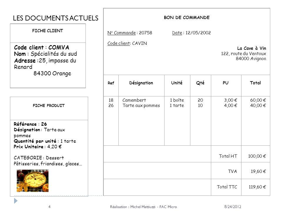 8/24/2012 Réalisation : Michel Mattiuzzi - FAC Micro 4 FICHE CLIENT Code client : COMVA Nom : Spécialités du sud Adresse :25, impasse du Renard 84300