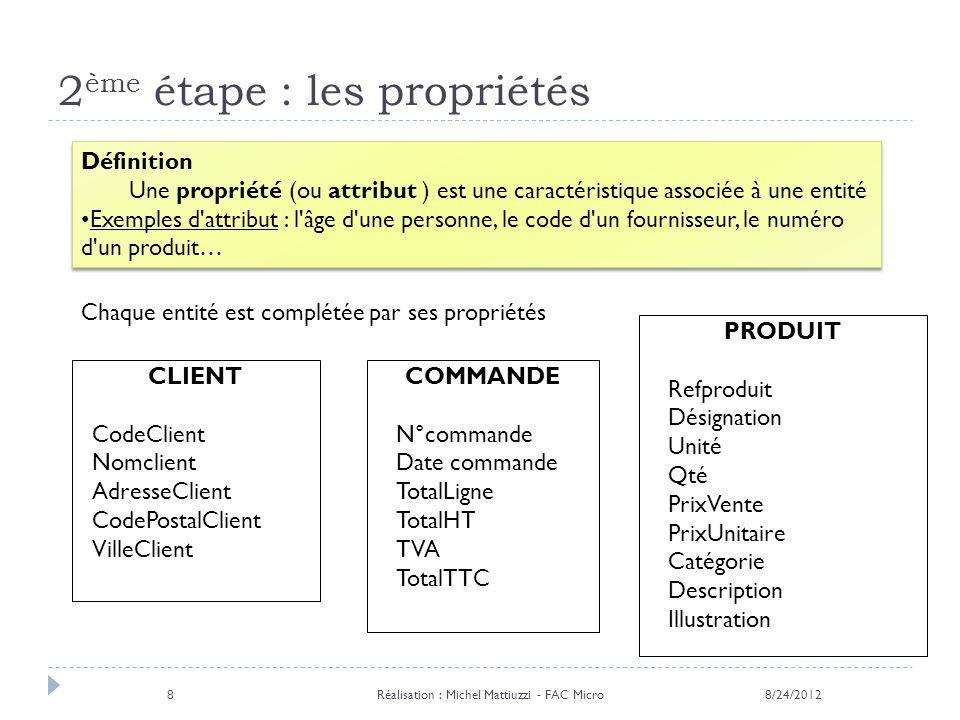 2 ème étape : les propriétés Chaque entité est complétée par ses propriétés Définition Une propriété (ou attribut ) est une caractéristique associée à