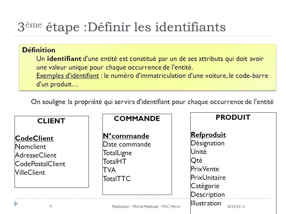 3 ème étape :Définir les identifiants Définition Un identifiant d'une entité est constitué par un de ses attributs qui doit avoir une valeur unique po