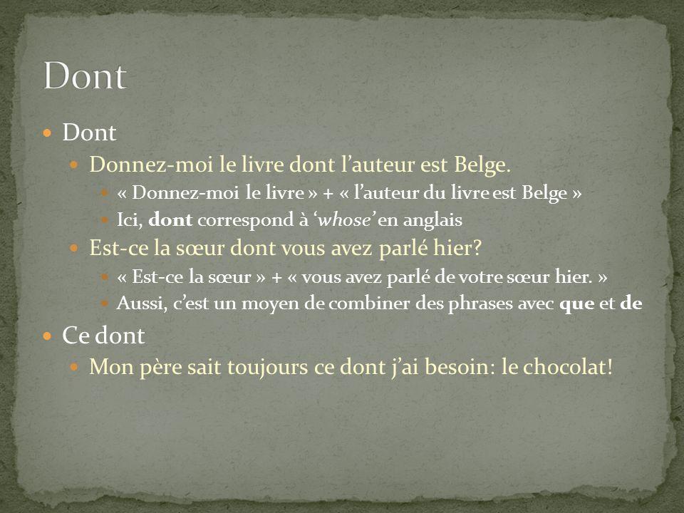 Dont Donnez-moi le livre dont lauteur est Belge. « Donnez-moi le livre » + « lauteur du livre est Belge » Ici, dont correspond à whose en anglais Est-