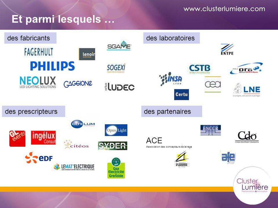 Et parmi lesquels … des laboratoiresdes fabricants des partenairesdes prescripteurs ACE Association des concepteurs éclairage