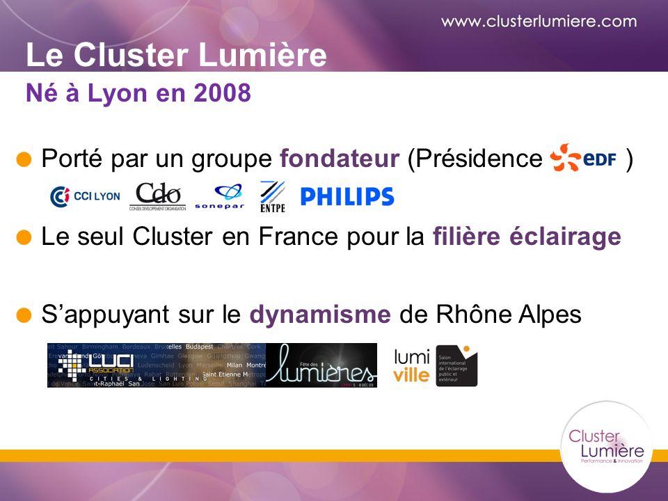 Le Cluster Lumière Porté par un groupe fondateur (Présidence ) Le seul Cluster en France pour la filière éclairage Sappuyant sur le dynamisme de Rhône Alpes Né à Lyon en 2008