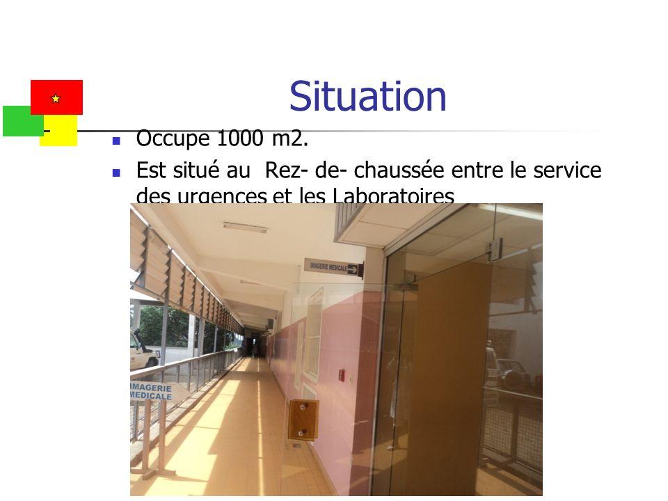 Situation Occupe 1000 m2. Est situé au Rez- de- chaussée entre le service des urgences et les Laboratoires