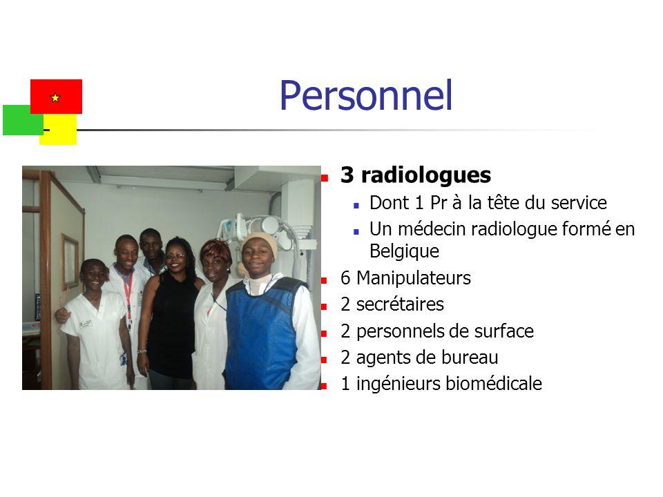 Personnel 3 radiologues Dont 1 Pr à la tête du service Un médecin radiologue formé en Belgique 6 Manipulateurs 2 secrétaires 2 personnels de surface 2