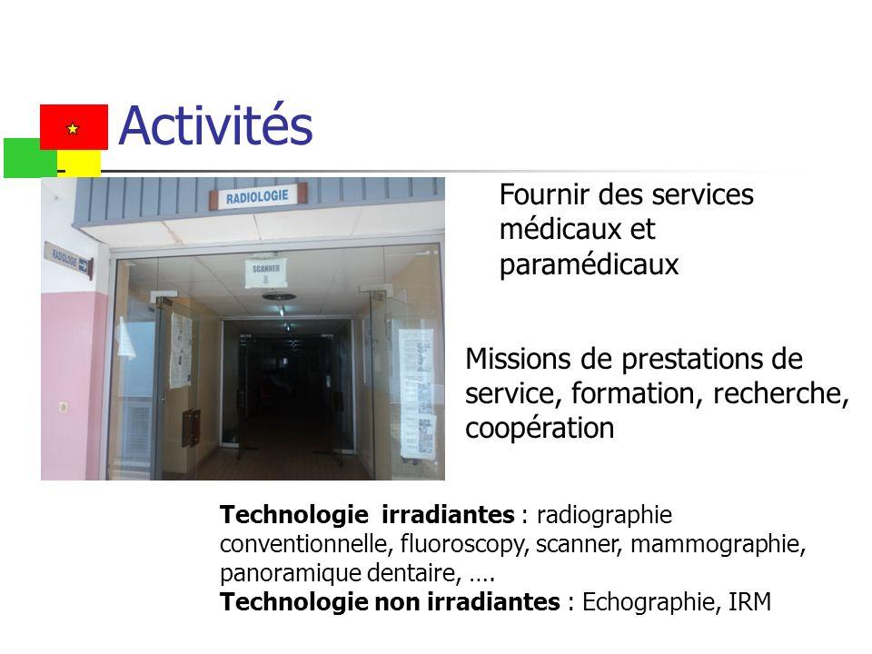 Fournir des services médicaux et paramédicaux Missions de prestations de service, formation, recherche, coopération Technologie irradiantes : radiogra