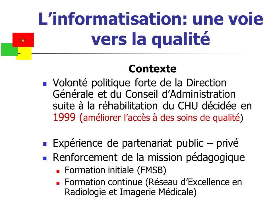 Linformatisation: une voie vers la qualité Contexte Volonté politique forte de la Direction Générale et du Conseil dAdministration suite à la réhabili