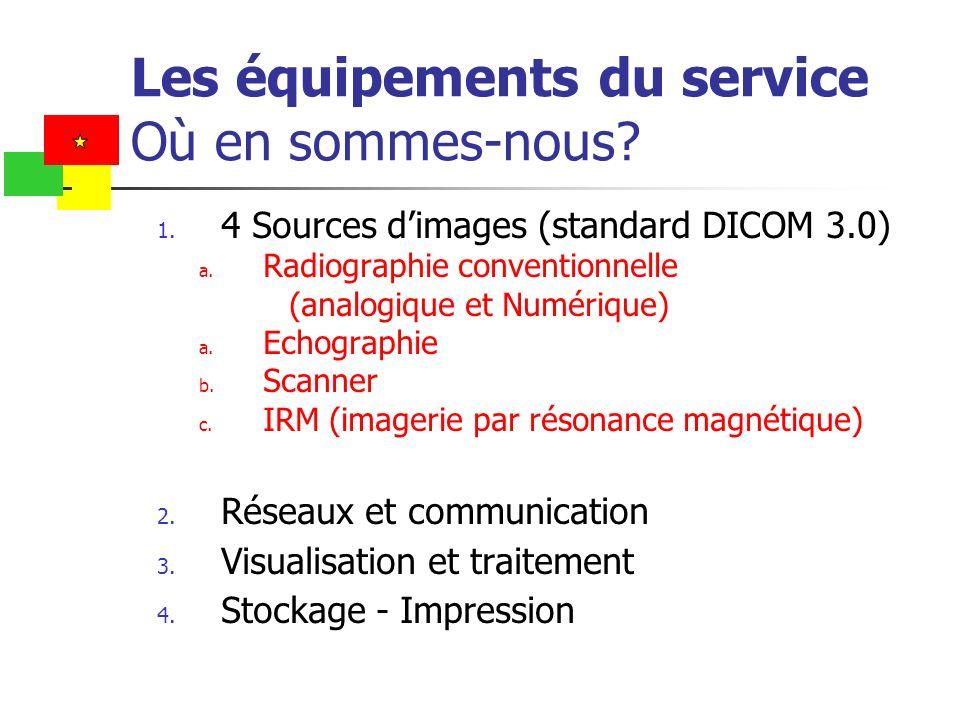 Les équipements du service Où en sommes-nous? 1. 4 Sources dimages (standard DICOM 3.0) a. Radiographie conventionnelle (analogique et Numérique) a. E