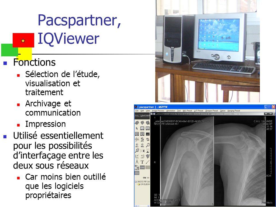 Pacspartner, IQViewer Fonctions Sélection de létude, visualisation et traitement Archivage et communication Impression Utilisé essentiellement pour le