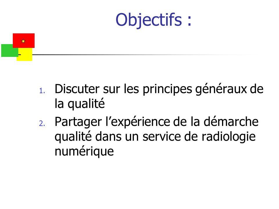 Objectifs : 1. Discuter sur les principes généraux de la qualité 2. Partager lexpérience de la démarche qualité dans un service de radiologie numériqu