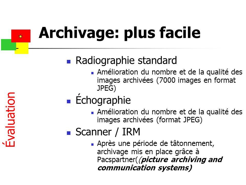 Archivage: plus facile Radiographie standard Amélioration du nombre et de la qualité des images archivées (7000 images en format JPEG) Échographie Amé