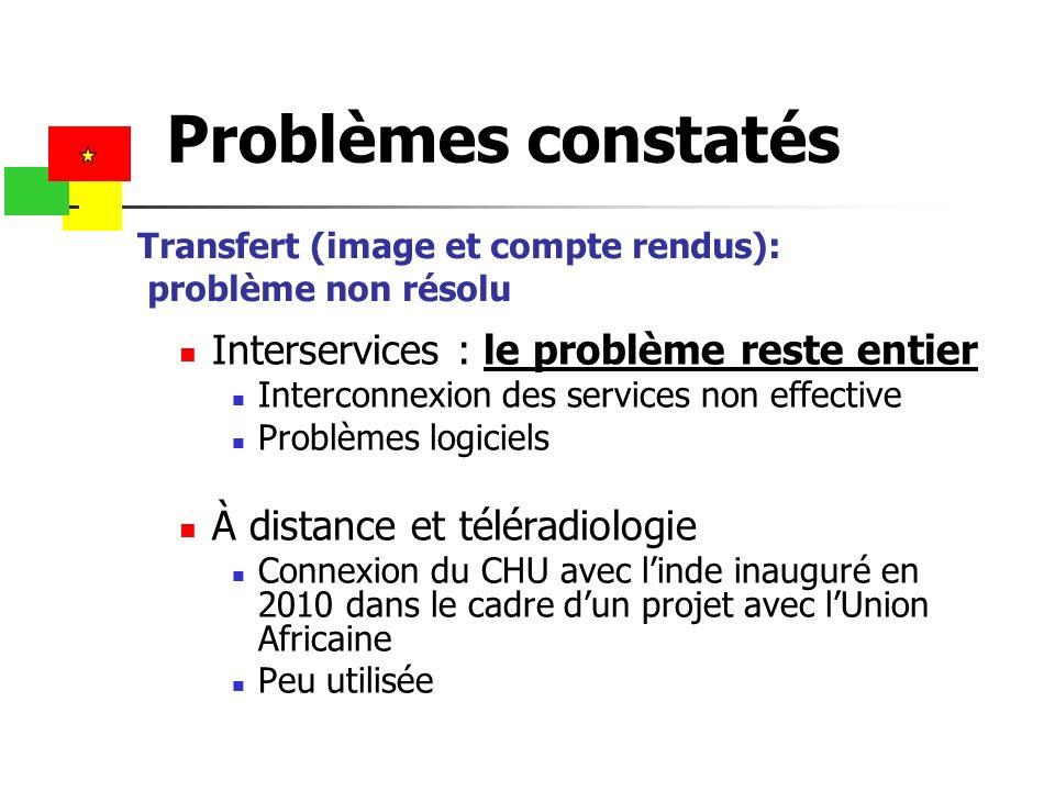 Transfert (image et compte rendus): problème non résolu Interservices : le problème reste entier Interconnexion des services non effective Problèmes l