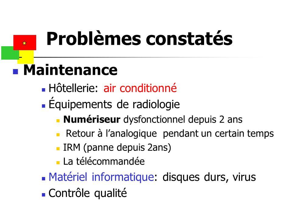 Maintenance Hôtellerie: air conditionné Équipements de radiologie Numériseur dysfonctionnel depuis 2 ans Retour à lanalogique pendant un certain temps