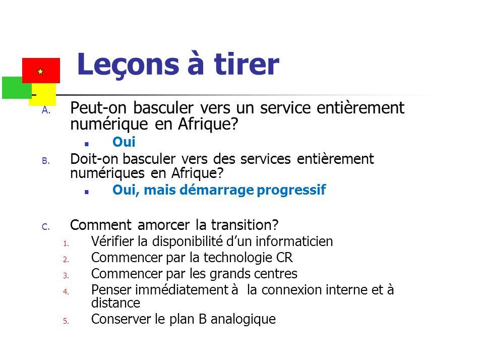 Leçons à tirer A. Peut-on basculer vers un service entièrement numérique en Afrique? Oui B. Doit-on basculer vers des services entièrement numériques