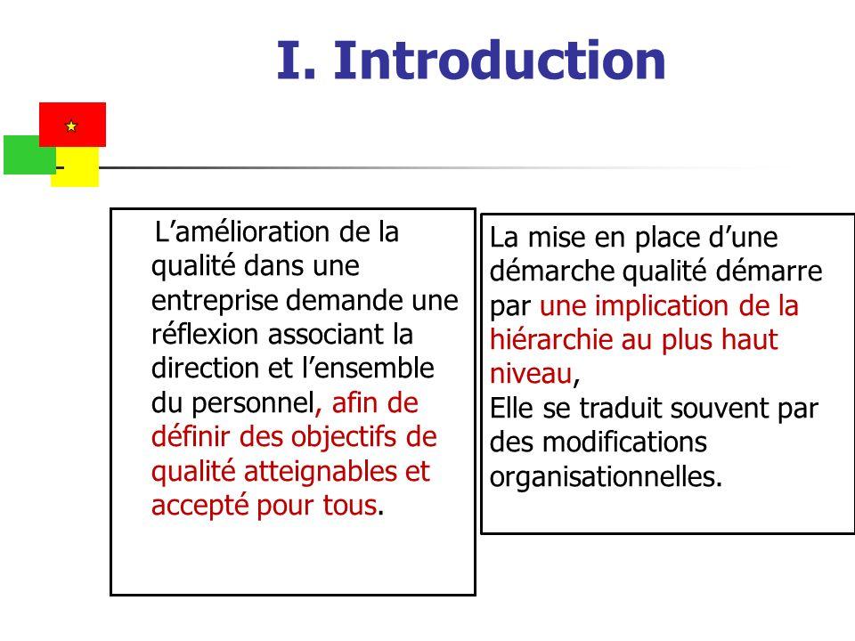 I. Introduction Lamélioration de la qualité dans une entreprise demande une réflexion associant la direction et lensemble du personnel, afin de défini