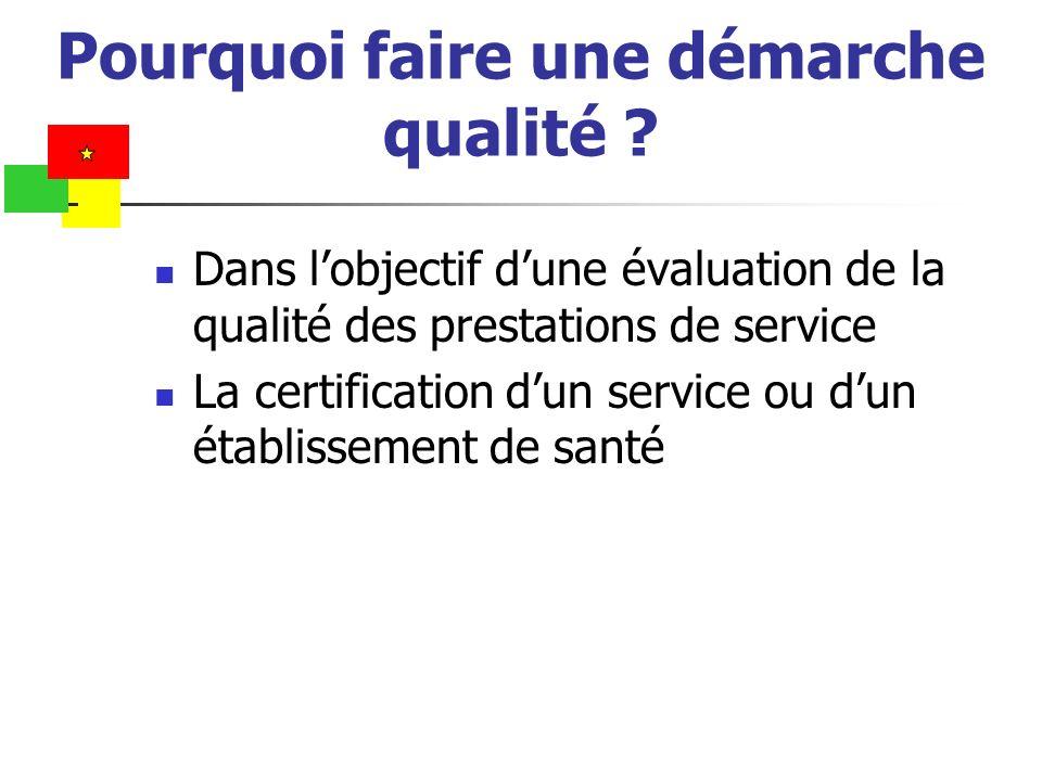 Pourquoi faire une démarche qualité ? Dans lobjectif dune évaluation de la qualité des prestations de service La certification dun service ou dun étab