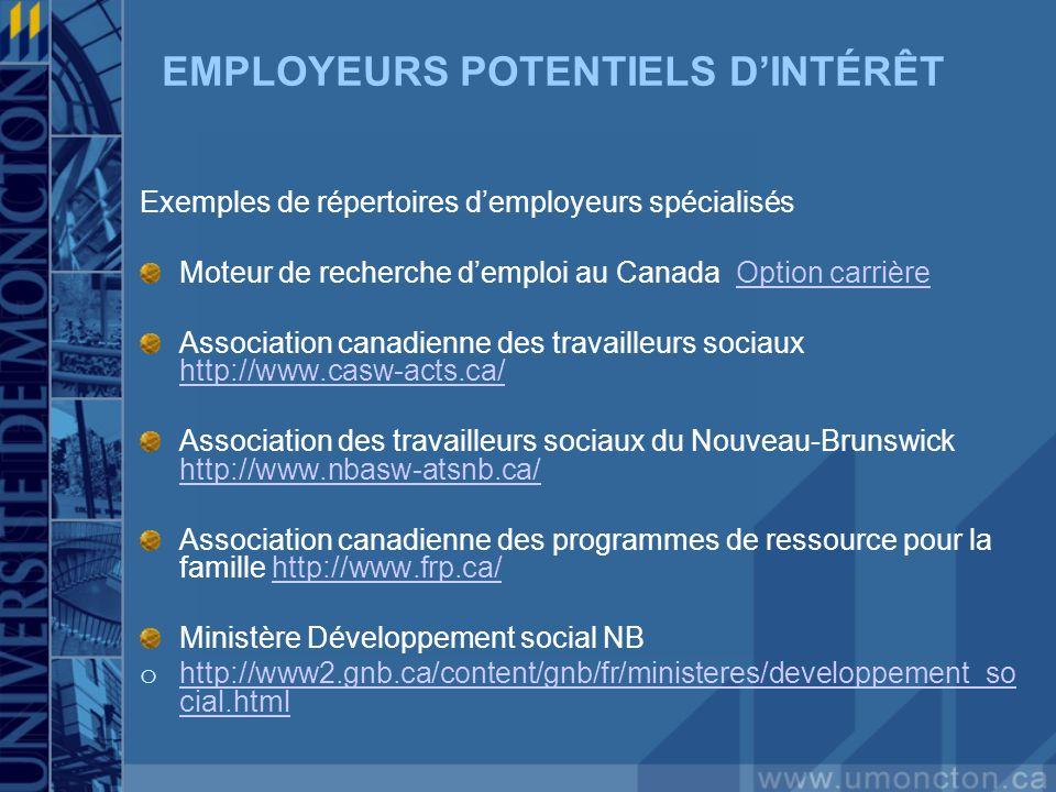 EMPLOYEURS POTENTIELS DINTÉRÊT Exemples de répertoires demployeurs spécialisés Moteur de recherche demploi au Canada Option carrièreOption carrière As