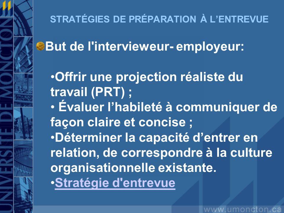 STRATÉGIES DE PRÉPARATION À LENTREVUE But de l'intervieweur- employeur: Offrir une projection réaliste du travail (PRT) ; Évaluer lhabileté à communiq