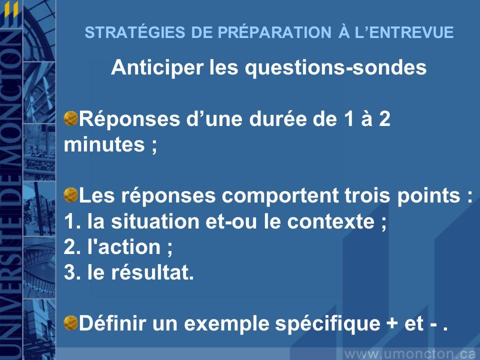 STRATÉGIES DE PRÉPARATION À LENTREVUE Anticiper les questions-sondes Réponses dune durée de 1 à 2 minutes ; Les réponses comportent trois points : 1.