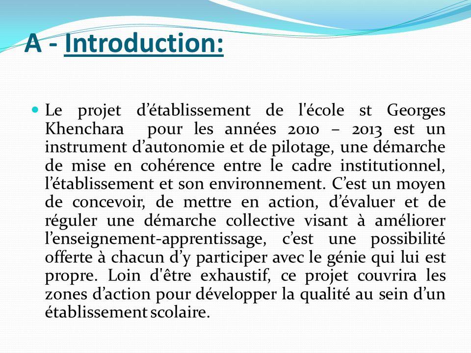 A - Introduction: Le projet détablissement de l'école st Georges Khenchara pour les années 2010 – 2013 est un instrument dautonomie et de pilotage, un