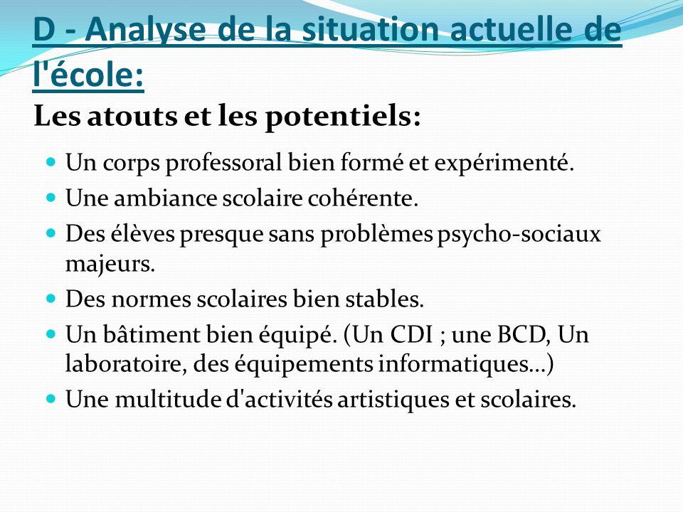 D - Analyse de la situation actuelle de l'école: Les atouts et les potentiels: Un corps professoral bien formé et expérimenté. Une ambiance scolaire c