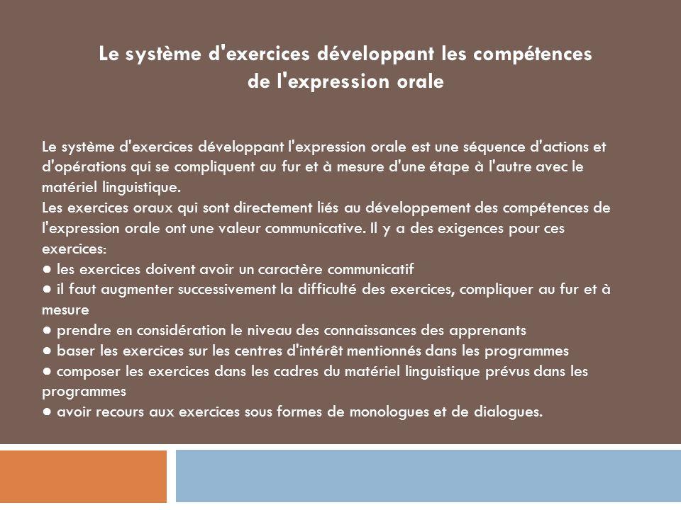 Le système d exercices développant les compétences de l expression orale Le système d exercices développant l expression orale est une séquence d actions et d opérations qui se compliquent au fur et à mesure d une étape à l autre avec le matériel linguistique.