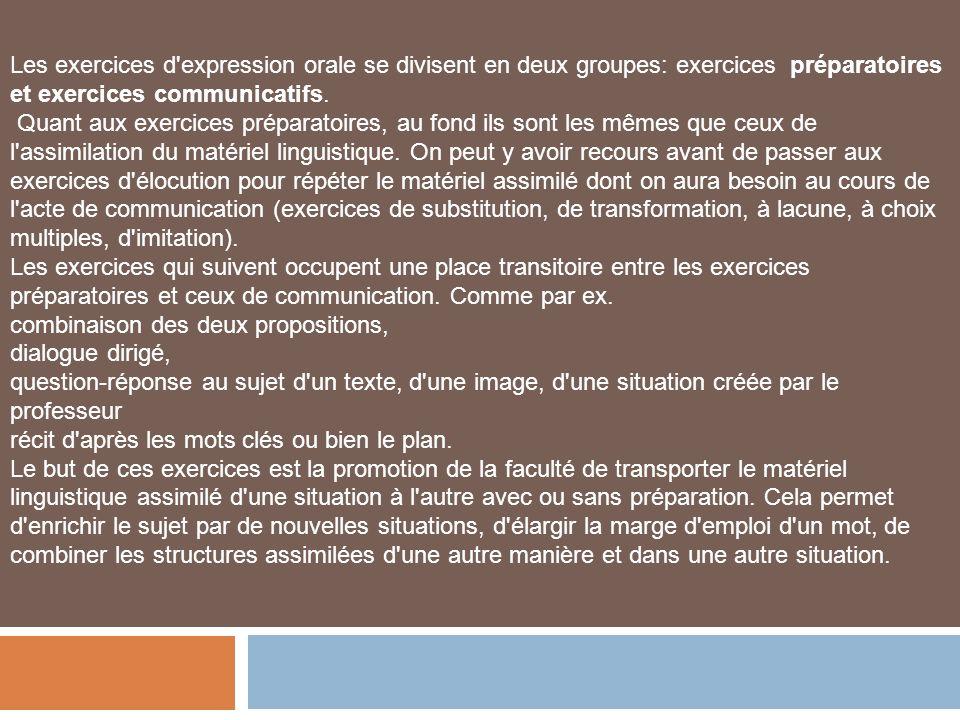 Les exercices d'expression orale se divisent en deux groupes: exercices préparatoires et exercices communicatifs. Quant aux exercices préparatoires, a