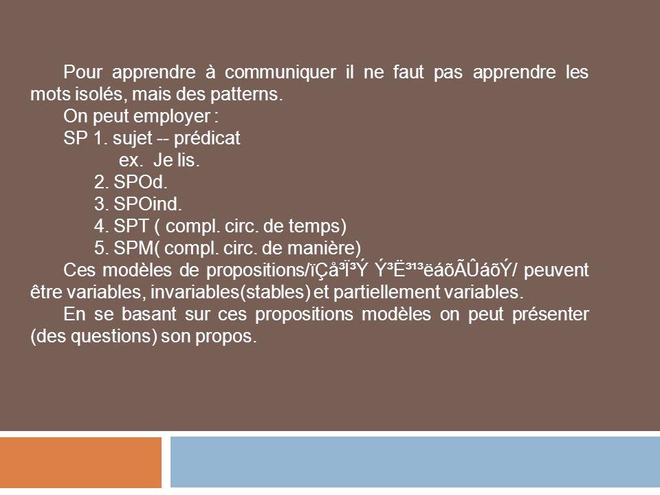 Pour apprendre à communiquer il ne faut pas apprendre les mots isolés, mais des patterns. On peut employer : SP 1. sujet -- prédicat ex. Je lis. 2. SP