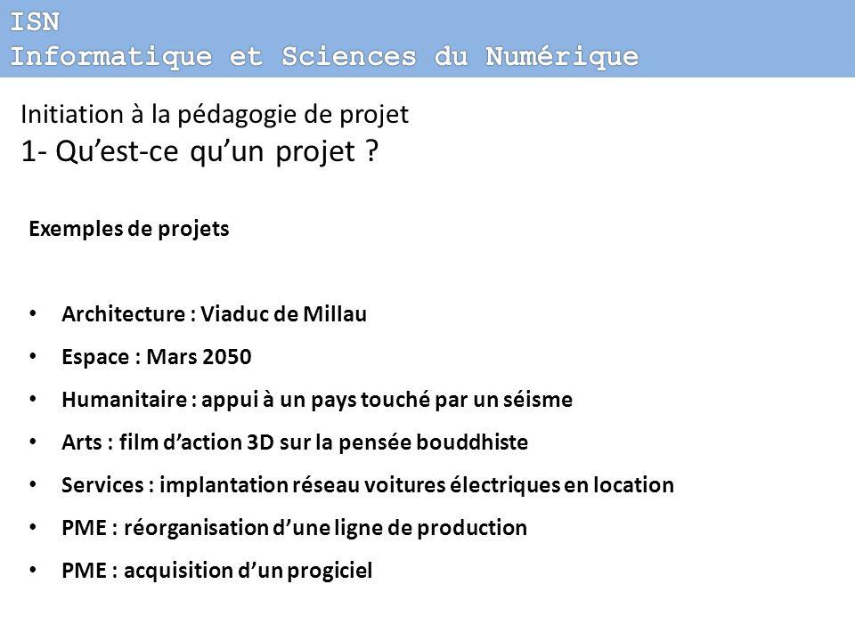 Initiation à la pédagogie de projet 1- Quest-ce quun projet ? Exemples de projets Architecture : Viaduc de Millau Espace : Mars 2050 Humanitaire : app