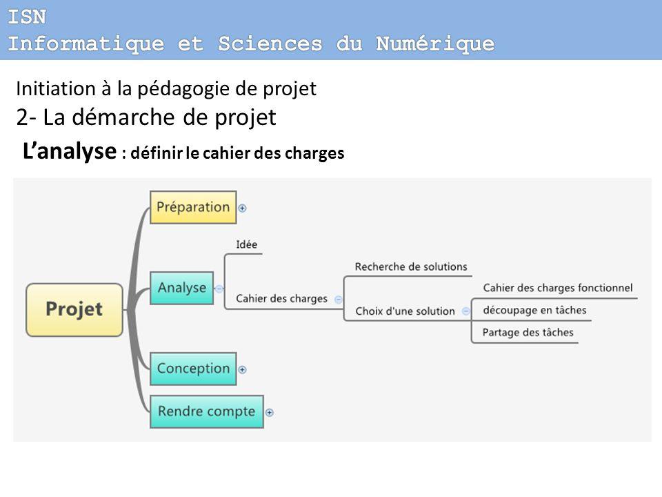 Initiation à la pédagogie de projet 2- La démarche de projet Lanalyse : définir le cahier des charges