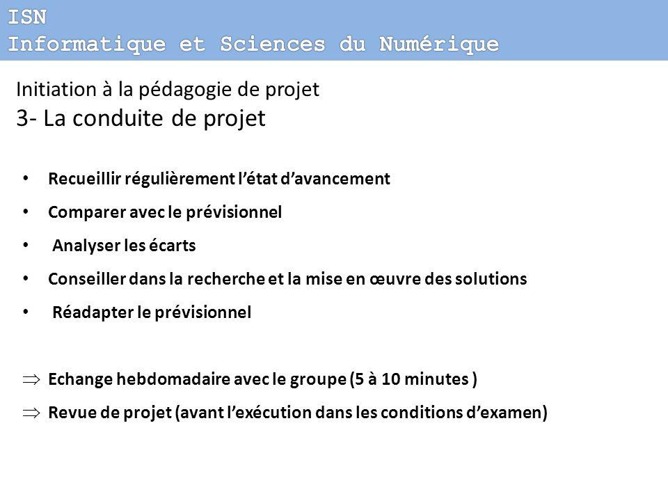 Initiation à la pédagogie de projet 3- La conduite de projet Recueillir régulièrement létat davancement Comparer avec le prévisionnel Analyser les éca