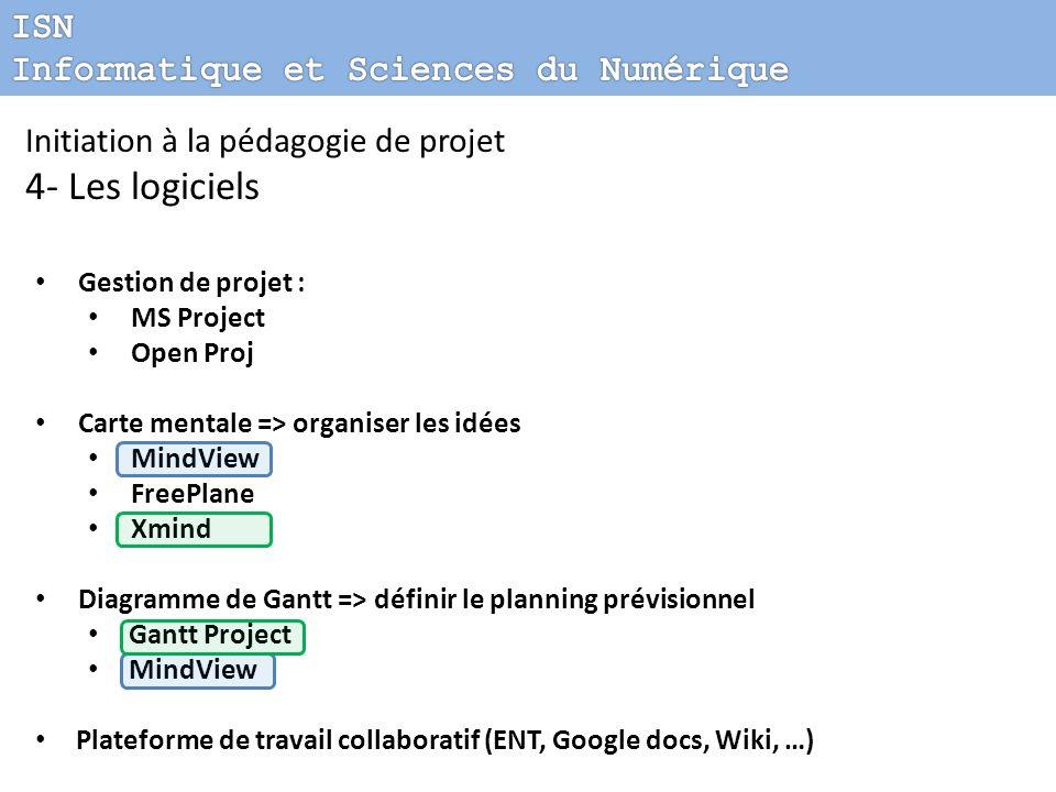 Initiation à la pédagogie de projet 4- Les logiciels Gestion de projet : MS Project Open Proj Carte mentale => organiser les idées MindView FreePlane